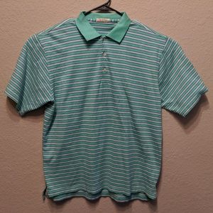 Peter Millar Men's Green Blue PinStriped Golf Polo